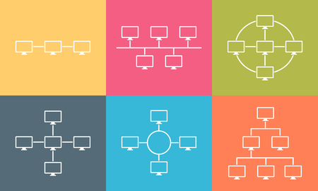 network topology: Set of network topology internet connection vector illustration flat design Illustration