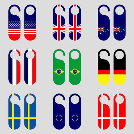 door hanger: Set of flag door hanger vector illustration