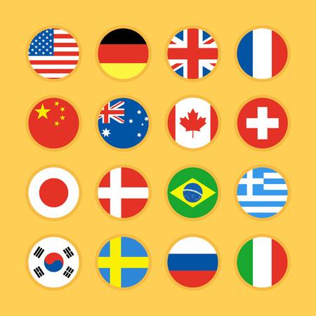 all european flags: Set of flag icon flat design vector illustration