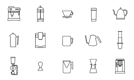 Coffee equipment vector flat line icon collection 일러스트
