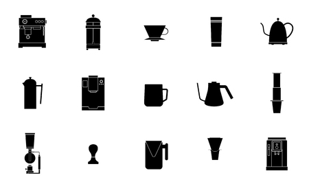 Coffee equipment vector flat line icon collection Illustration