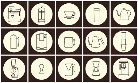 Coffee equipment vector flat line icon collection 일러스트