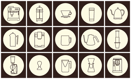 Coffee equipment vector flat line icon collection
