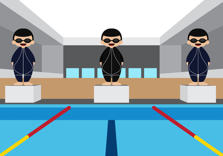 pool hall: Swimming pool with swimming athlete vector illustration