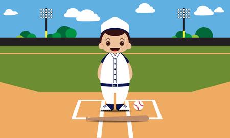 mounds: Baseball field baseball player vector illustration