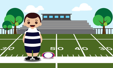 rugby field: Rugby field rugby player vector illustration