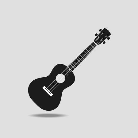 fret: Ukulele icon on grey background flat design vector illustration