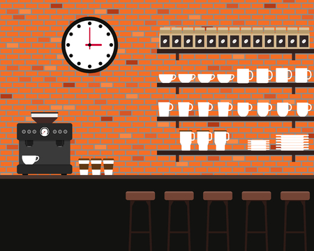 brick texture: Interior coffee shop brick texture flat design Illustration