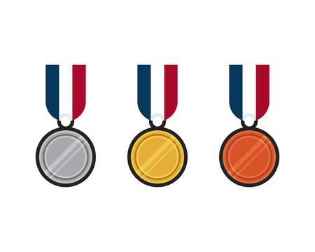 gold silver bronze: Set of gold, silver, bronze medal flat design vector illustration Illustration