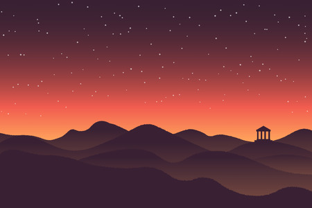 afterglow: Abstract background landscape sunset silhouette mountain scenery