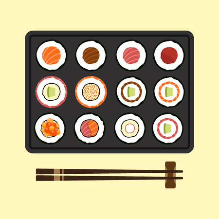 japanese cuisine: Set of sushi rolls Japanese cuisine flat design Illustration