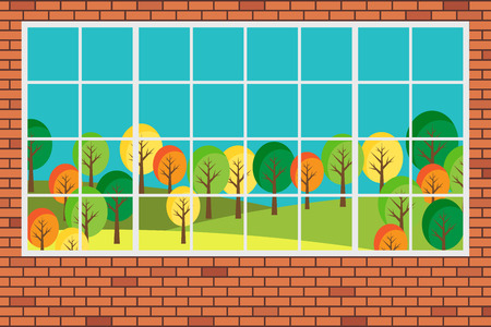 window view: Window with forest landscape view flat design vector illustration