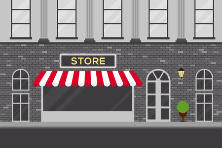 old building facade: Urban scene with store building flat design vector  illustration