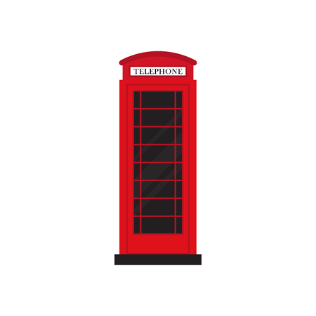 english culture: Red retro phone booth flat design vector illustration