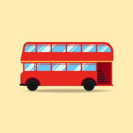 british touring car: Double decker bus flat design vector illustration