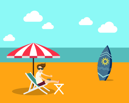 vacation time: Vacation time summer beach flat design vector illustration Illustration