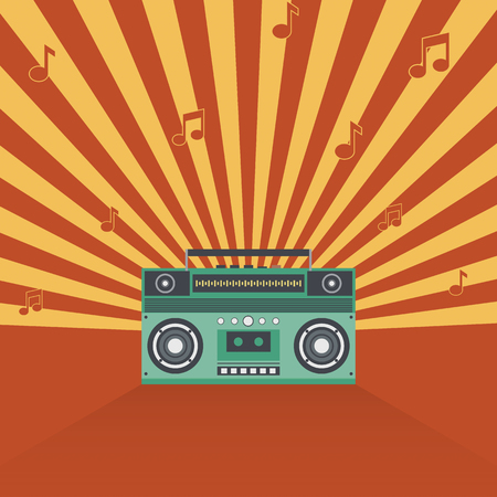 90s: Boombox retro vintage style vector illustration