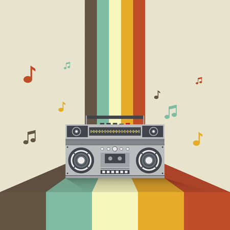 boombox: Boombox retro vintage style vector illustration