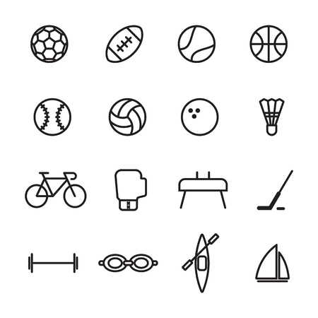 biking glove: Set of sport line icons illustration on white background Illustration