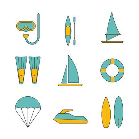 windsurf: Conjunto de iconos de los deportes acuáticos diseño plano aislado Ilustración