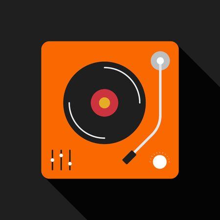 cd recorder: Retro vintage gramophone flat design isolated icon vector illustration Illustration