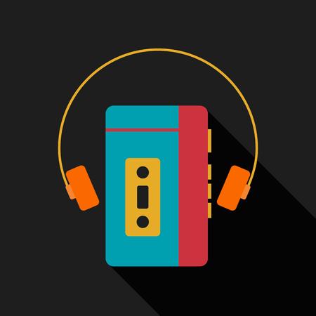 grabadora: reproductor de música portátil vendimia retro con diseño plano aislado icono de ilustración vectorial de auriculares Vectores
