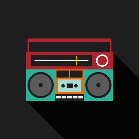 boombox: Retro vintage boombox radio flat design isolated icon vector illustration Illustration