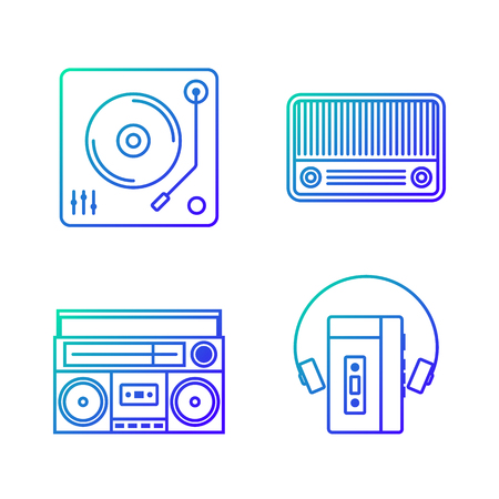 cd recorder: Retro vintage music player outline gradient icon isolated on white background vector illustration Illustration