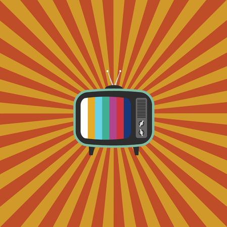 vintage television: Retro vintage television flat design with stripe background vector illustration Illustration
