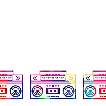 boombox: Abstract radio boombox polygon, low-poly, colorful geometric, background vector illustration