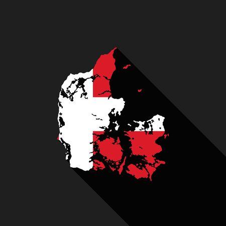 Denmark flag map flat design, icon symbol isolated, long shadow Illustration