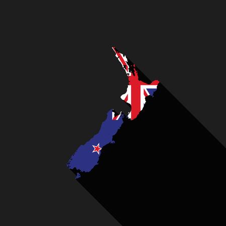new zealand flag: New Zealand flag map flat design, icon symbol isolated, long shadow Illustration