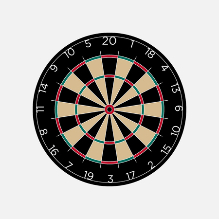 entertainment center: Classic dartboard isolated on white background vector illustration