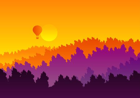 Abstract background sunset silhouette mountain scenery, air balloon, twilight time, vector illustration