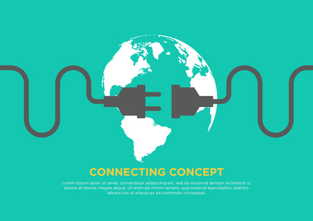 Connection concept flat design, global connecting, vector illustration 일러스트