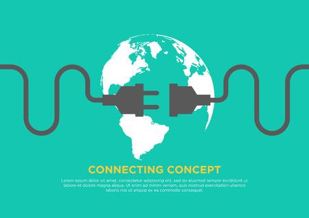 Connection concept flat design, global connecting, vector illustration Illusztráció