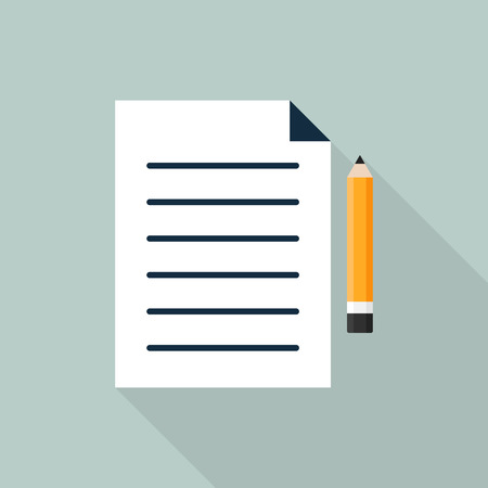 writing pad: Paper and pencil icon flat design isolated vector illustration