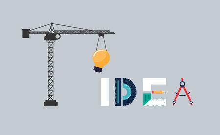 Creative idea concept, inspiration process flat design vector illustration