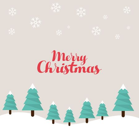 postcard design: Christmas trees flat design template, used for postcard, poster, background, wallpaper, banner, and other design elements, vector illustration