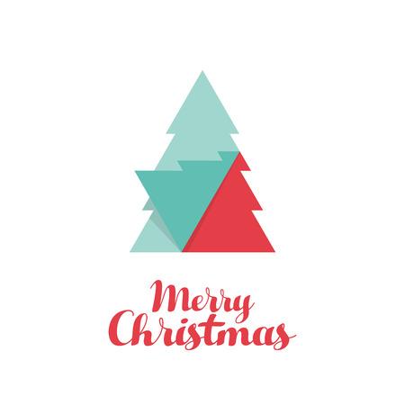 postcard design: Christmas tree flat design template, used for postcard, poster, background, wallpaper, banner, and other design elements, vector illustration