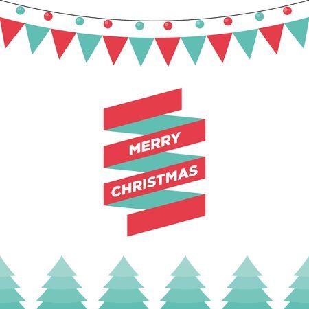 postcard design: Christmas ribbon and ornament, design template used for postcard, poster, background, wallpaper, banner, and other design elements, vector illustration Illustration