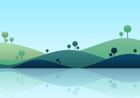 natue: Natue landscape background, mountain scenery vector illustration