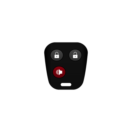 remote view: Realistic car remote, key accessory, front view closed-up isolated on white background Illustration