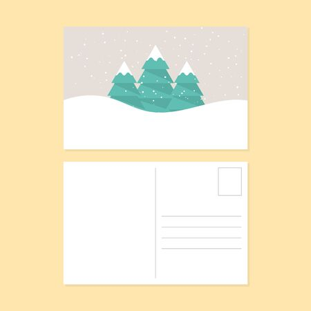 postcard design: Happy new year and merry christmas postcard flat design, vector illustration