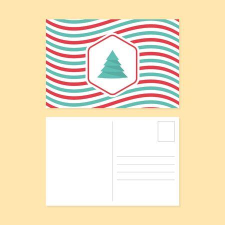 postcard design: Happy new year and merry christmas postcard flat design, curve stripe line pattern vector illustration Illustration