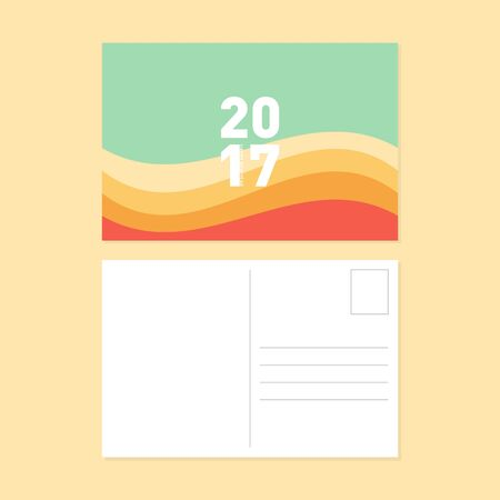 postcard design: Happy new year and merry christmas postcard flat design, curve strip pattern vector illustration