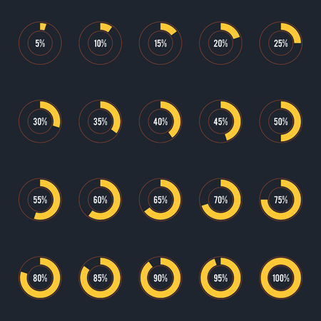 Modern circle progress bar, loading and buffering percentage icon set vector illustration