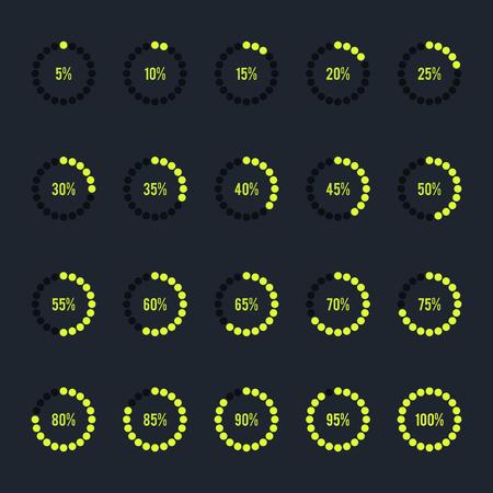 Modern circle progress bar, loading and buffering percentage icon set vector illustration