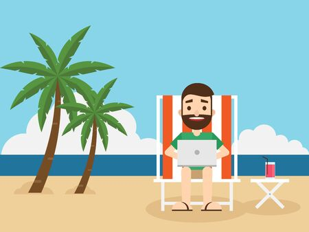 vacation with laptop: Businessman working on the beach with a laptop, remote working concept flat design, vector illustration Illustration