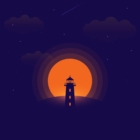 A lighthouse located on top of the mountain at night pattern, vector illustration Illustration